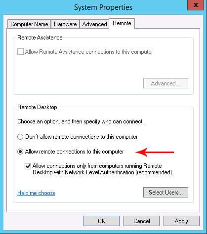 allow remote connectio-فعال کردن ریموت دسکتاپ