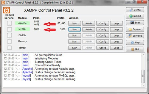 start xampp-نصب وردپرس روی لوکال هاست