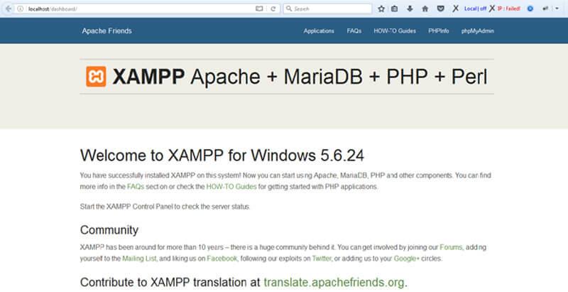xampp default page-نصب وردپرس روی لوکال هاست