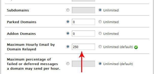 حداکثر ایمیل های ارسالی در ساعت