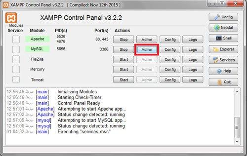 phpmyadmin-نصب وردپرس روی localhost