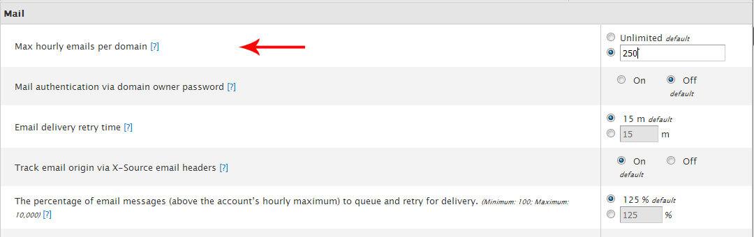 محدودیت ارسال ایمیل در cpanel برای همه کاربران