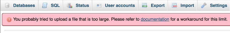 uploading error-افزایش حجم آپلود در phpmyadmin