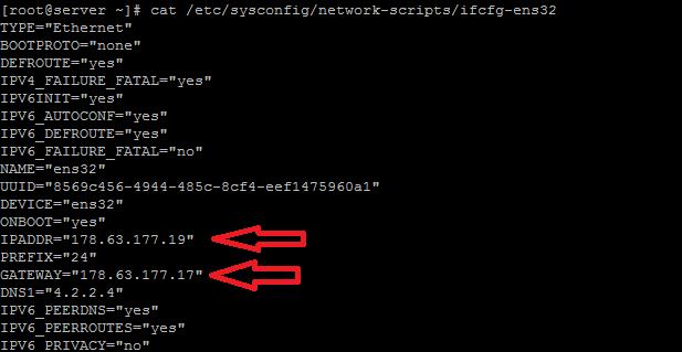 parameter-تغییر آدرس ip در لینوکس