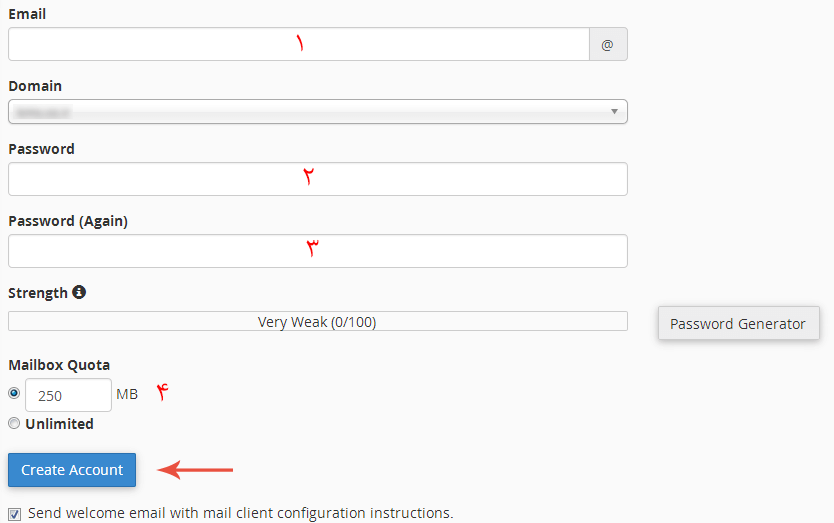 ایجاد اکانت ایمیل در cpanel