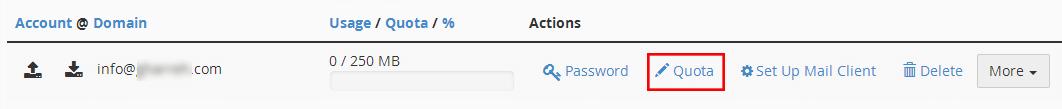 تغییر محدودیت فضای اکانت ایمیل در cpanel