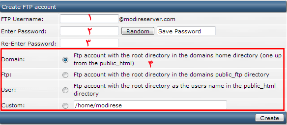 ftp account information- Creating an ftp account in the admin directory