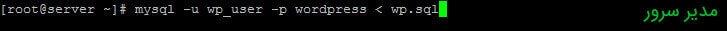 import database-ایمپورت دیتابیس در ssh