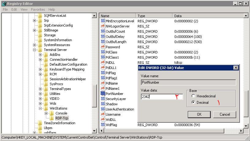 new port-تغییر پورت remote desktop