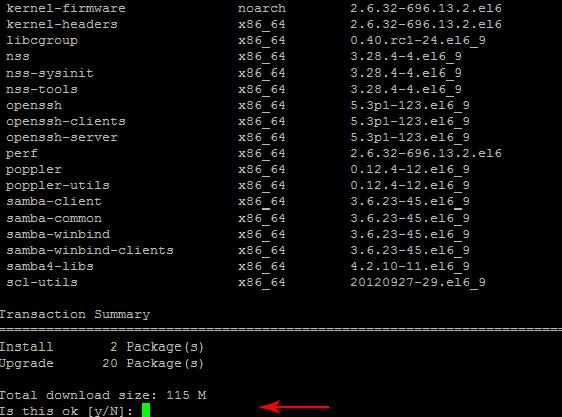 accept-آپدیت لینوکس centos