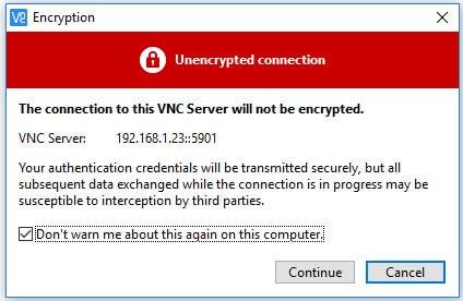 warning-نصب vnc در لینوکس