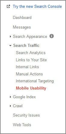 google webmaster mobile usability