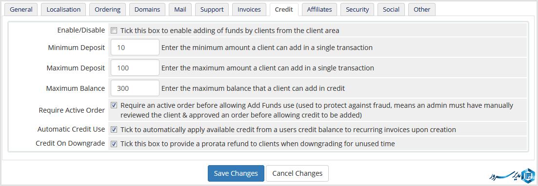 تب credit در whmcs
