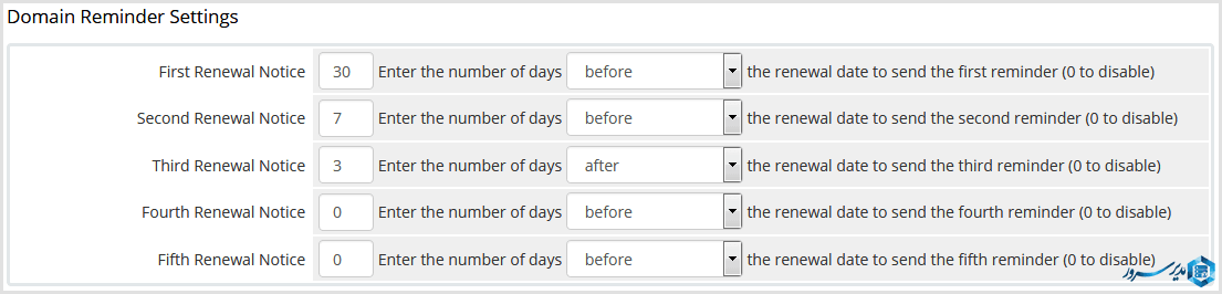 بخش domain reminder