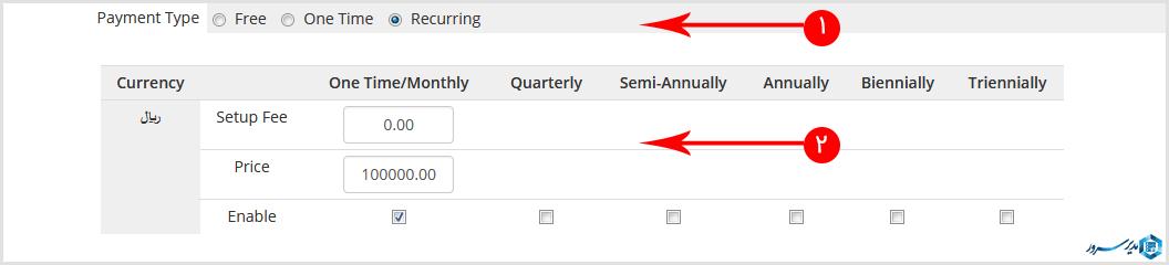 تب pricing در ساخت محصول اتوماتیک در whmcs